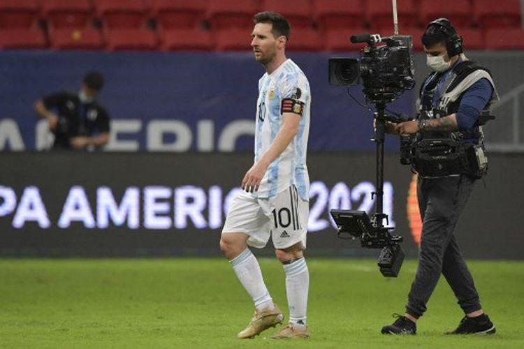 Ekspresi Lionel Messi seusai laga Grup A Copa America 2021 yang mempertemukan Argentina Vs Brasil di Mane Garrincha Stadium, Sabtu (19/6/2021) pagi WIB.