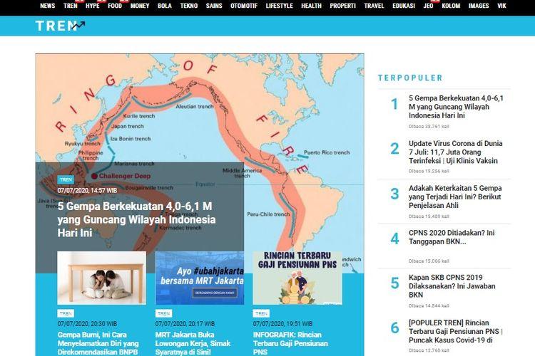 Populer Tren 5 Gempa Yang Guncang Indonesia 7 Juli 2020 Penerimaan Cpns 2020 Ditiadakan Halaman All Kompas Com
