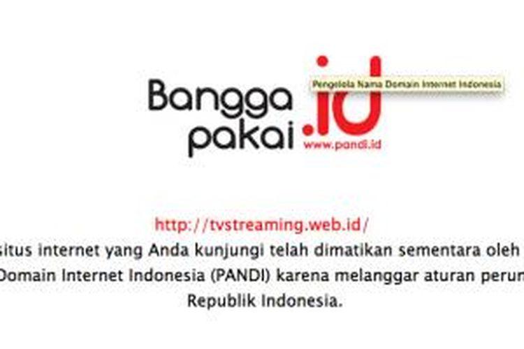 Laman tvstreaming.web.id yang menampilkan keterangan suspend dari PANDI