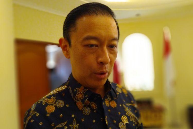 Kepala Badan Koordinasi Penanaman Modal (BKPM) Thomas Lembong di Kantor Kedubes Qatar, Jakarta, Rabu (1/8/2018).