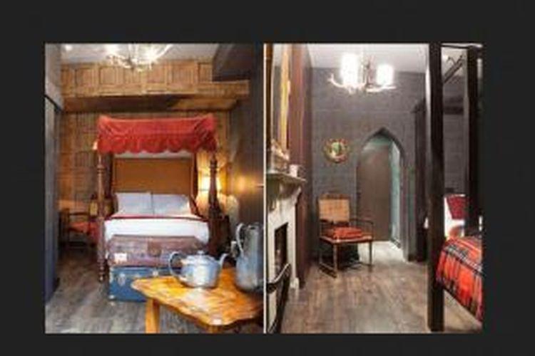 Hotel tersebut memiliki ruangan yang mirip dengan ruang tidur asrama di Hogwarts. Ruangan bergaya Potter itu dilengkapi koper, botol ramuan, dan buku-buku mantra.