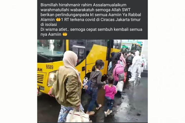 Status Facebook keliru mengenai warga satu RT di Ciracas, Jakarta Timur, diberangkatkan ke Wisma Atlet.