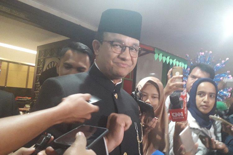 Gubernur DKI Jakarta Anies Baswedan di Gedung DPRD DKI Jakarta, Sabtu (22/6/2019).