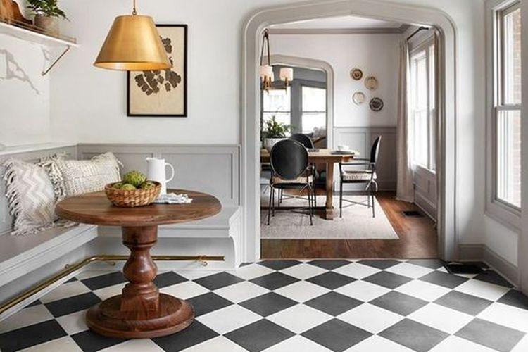 Ilustrasi desain ruang tamu bergaya khas Eropa.