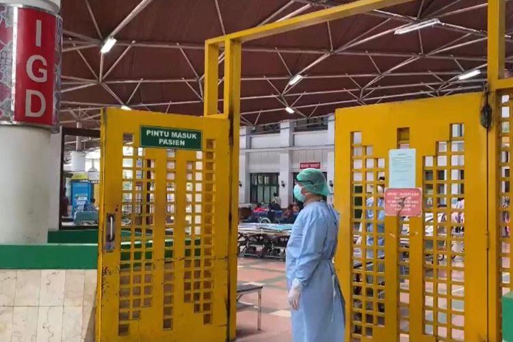 Suasana Rumah Sakit Hasan Sadikin (RSHS) Bandung. Jumlah pasien Covid-19 di RSHS meningkat.