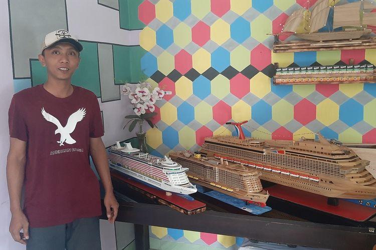 Miniatur Kapal Pesiar dibuat oleh Pradana Familia Sholikhin Warga Kapanewon Ponjong, Gunungkidul