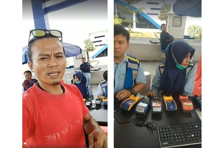 Tangkapan layar video viral penegmudi truk yang didenda 2 kali lipat karena kartu E-Toll hilang.
