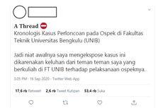 Viral, Unggahan Dugaan Kasus Perpeloncoan Ospek Online Universitas Bengkulu, Ini Cerita Lengkapnya