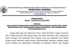 Kementerian Desa PDDT Umumkan Seleksi Adminstrasi CPNS 2019, 9.746 Peserta Lolos