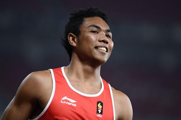 Pelari Indonesia, Lalu Muhammad Zohri, saat tampil dalam semifinal 100 meter Putra di ajang Asian Games 2018 di Jakarta 26 Agustus 2018. (Jewel SAMAD / AFP)