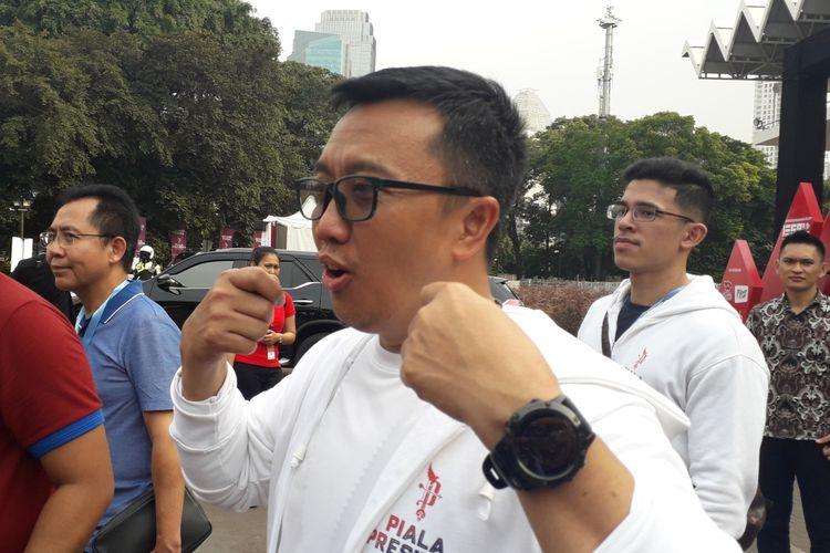 Menteri Pemuda dan Olahraga Imam Nahrawi usai menyaksikan babak final turnamen e-sports Piala Presiden 2019 di Istora Senayan, Jakarta, Sabtu (30/3/2019).