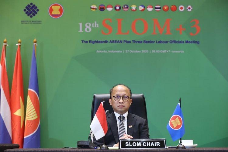 Sekjen Kemnaker Anwar Sanusi, pada pertemuan 18th Senior Labour Officials Meeting Plus Three (SLOM+3) yang diadakan secara hybrid virtual meeting, di Jakarta, Selasa (27/10/2020).