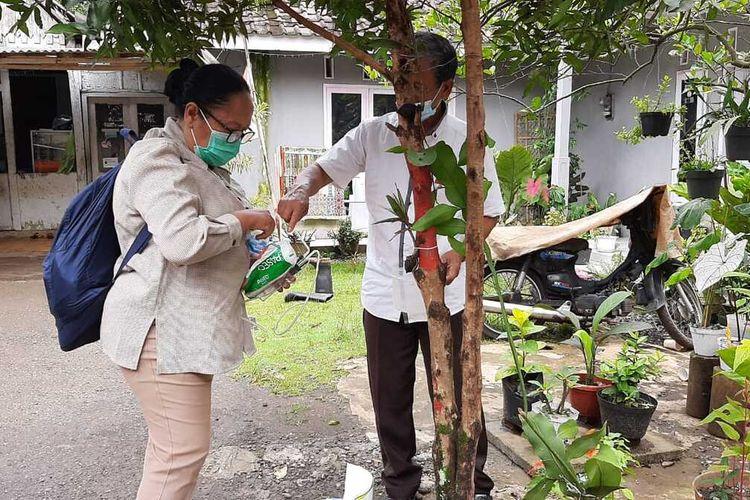 Ahli entomologi dari Universitas Jenderal Soedirman (Unsoed) Purwokerto turun tangan mengecek fenomena teror semut di Desa Pageraji, Kecamatan Cilongok, Kabupaten Banyumas, Jawa Tengah, Selasa (17/11/2020).