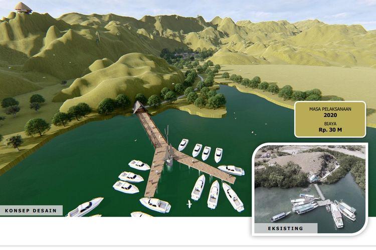 Dermaga Pulau Rinca ditata dengan bentuk seperti lidah Komodo.