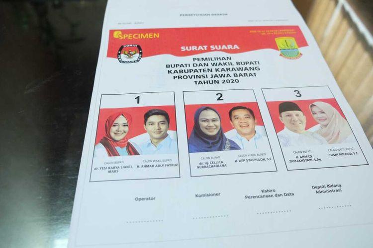 Komisi Pemilihan Umum (KPU) Karawang bersiap mensosialisasikan spesimen atau sampel surat suara Pilkada Karawang 2020 kepada masyarakat.