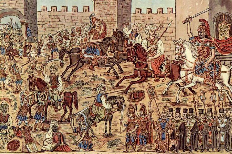 Lukisan yang menggambarkan pertempuran sebelum jatuhnya Konstantinopel ke tangan Turki Ottoman.