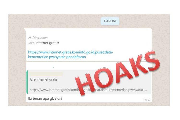 Tangkapan layar informasi hoaks kuota internet kominfo