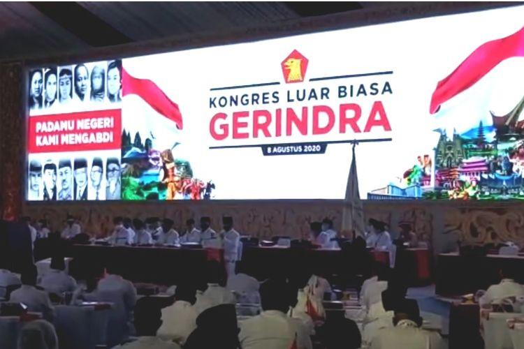 Kongres Luar Biasa Partai Gerindra pada Sabtu (8/8/2020) menetapkan Prabowo Subianto untuk kembali menjadi ketua umum.