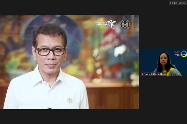 Kemenparekraf Wishnutama dalam rekaman video sambutan, Jumat (12/6/2020)