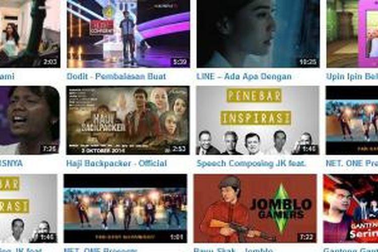 Video-video terpopuler di YouTube Indonesia sepanjang 2014.