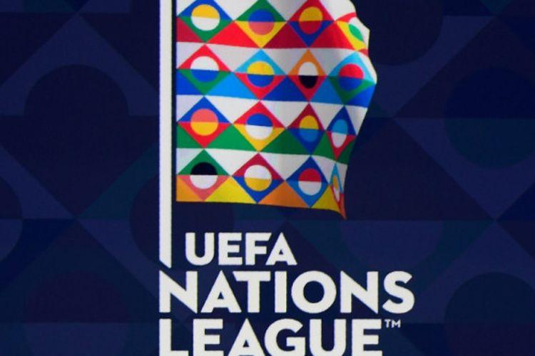 Logo UEFA Nations League atau Liga Negara Eropa terlihat dalam acara pengundian di Lausanne, Swiss, 24 Januari 2018.