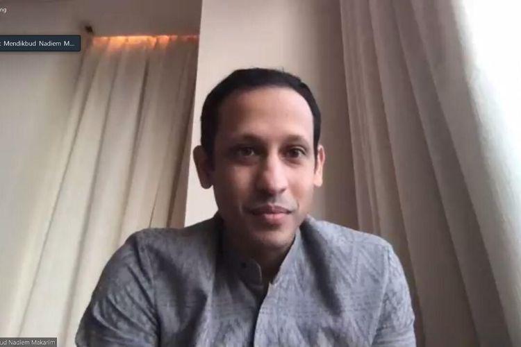 Mendikbud Nadiem Makarim dalam Rapat Kerja secara telekonferensi dengan Komisi X Dewan Perwakilan Rakyat Republik Indonesia (DPR RI), di Jakarta, Rabu (20/5/2020).