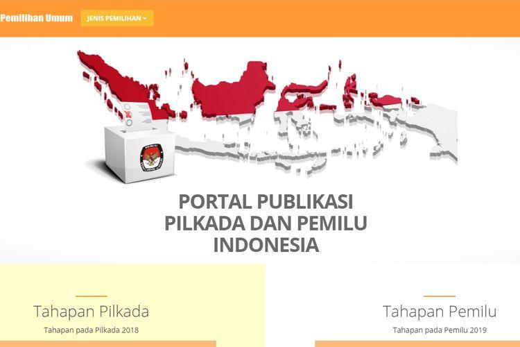 Tangkapan layar website KPU untuk memantau hasil hitung cepat Pilkada Serentak 2020