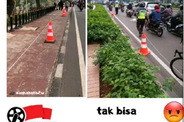 Sebuah foto beredar di media sosial yang menunjukkan anggota Polisi dan TNI tengah meminggirkan traffic cone pembatas antara jalur sepeda dan kendaraan bermotor.  Foto tersebut salah satunya diunggah oleh akun Instagram @b2w_Indonesia pada Senin (15/6/2020).
