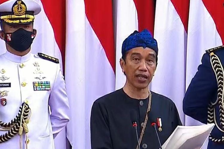 Presiden Joko Widodo saat menyampaikan RUU APBN Tahun Anggaran 2022, 16 Agustus 2021