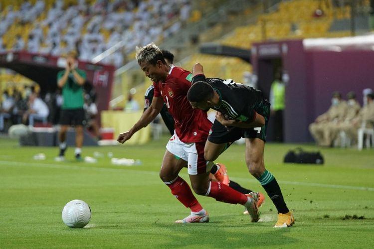 Laga timnas Indonesia vs UEA pada Kualifikasi Piala Dunia 2022 Zona Asia di Stadion Zabeel, Dubai, Jumat (11/6/2021) malam WIB.
