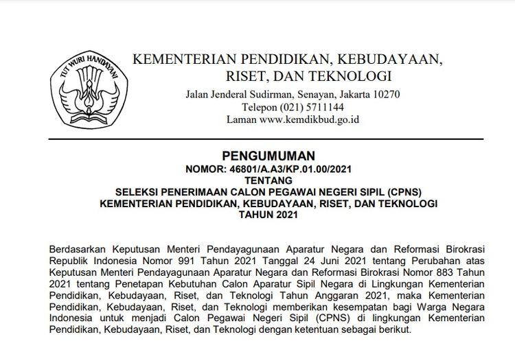 Pengumuman pembukaan CPNS 2021 Kemendikbud Ristek.