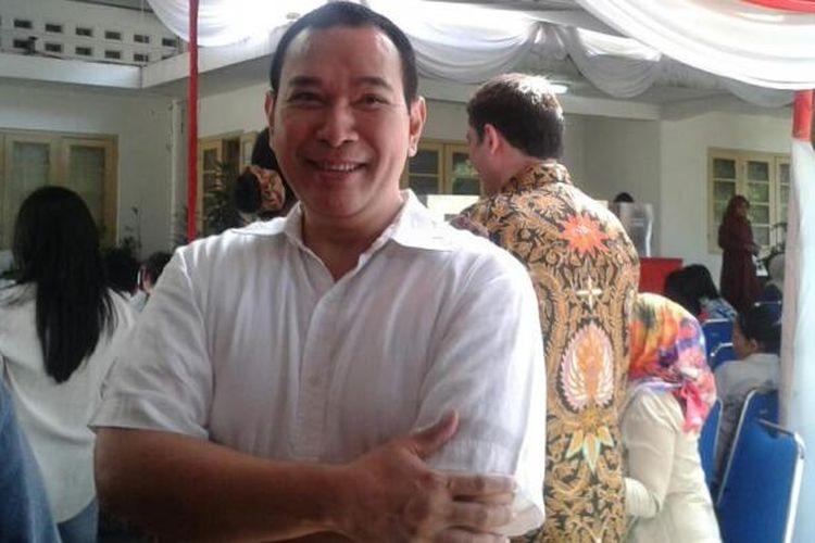 Hutomo Mandala Putra atau Tommy Soeharto datang sekitar pukul 12.30 WIB untuk mencoblos di TPS 01, BKKKS, Jakarta Pusat, Rabu (9/7/2014).