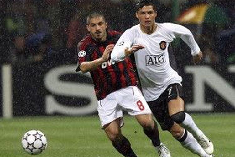 Laga AC Milan vs Manchester United pada semifinal Liga Champions 2006-2007 di Stadion San Siro, Milan, 2 Mei 2007.