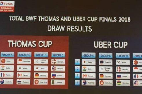Tim Piala Thomas dan Uber Indonesia Masuk di Grup Berat