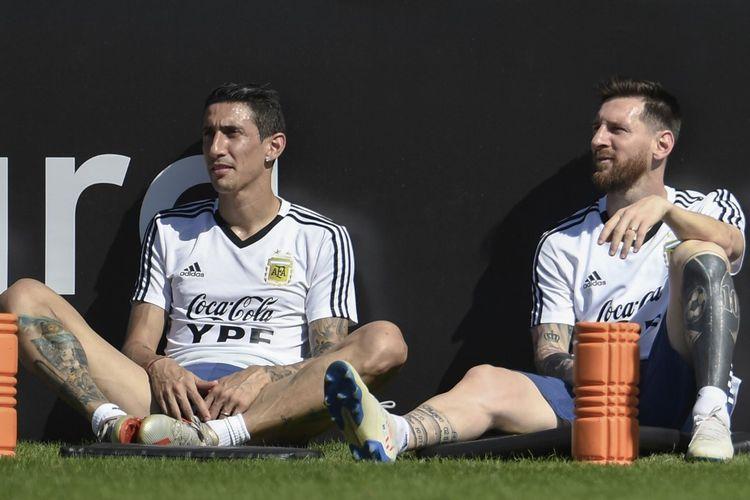 Lionel Messi dan Angel Di Maria saat menjalani latihan bersama timnas Argentina di Rio de Janeiro, Brasil, pada 26 Juni 2019 jelang perempat final Copa America 2019 kontra Venezuela.