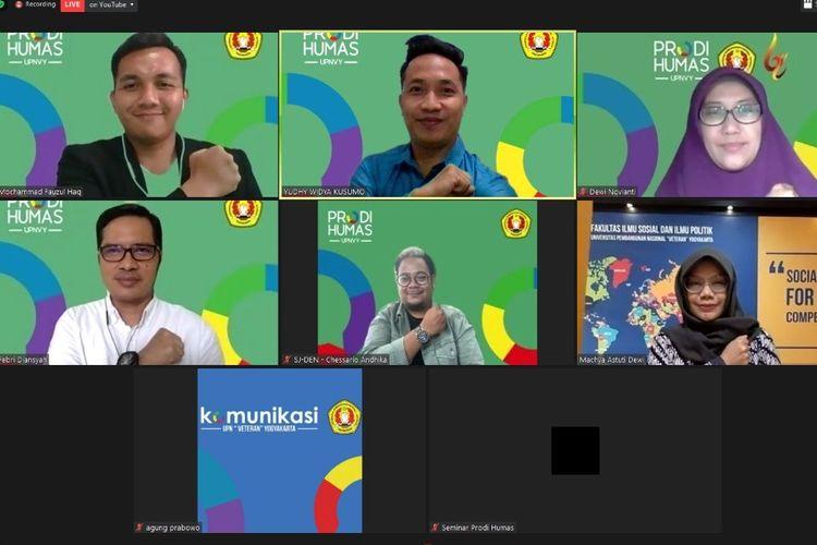 Webinar Program Studi Hubungan Masyarakat (Humas) UPN Veteran Yogyakarta (UPN Jogja), Sabtu (14/11/2020).