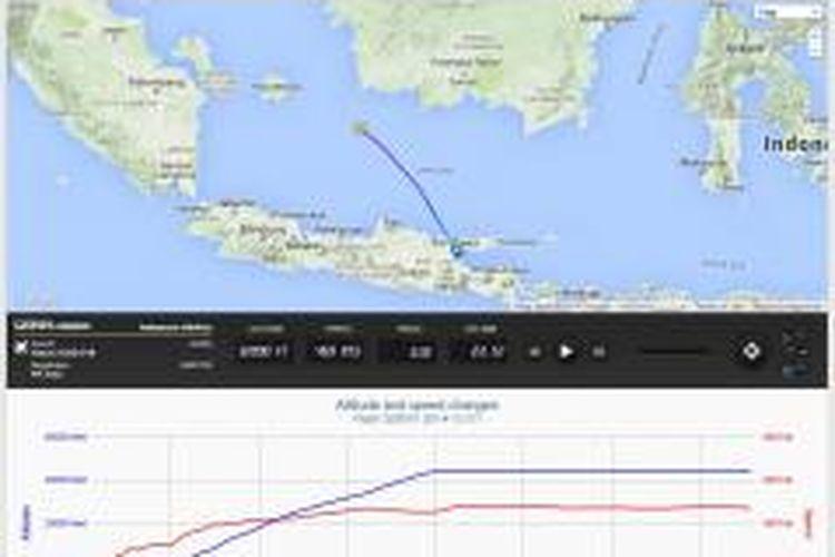 Lokasi terakhir AirAsia QZ8501 sebagaimana yang dicatat oleh situs penerbangan flightradar24.com, Minggu (28/12/2014)