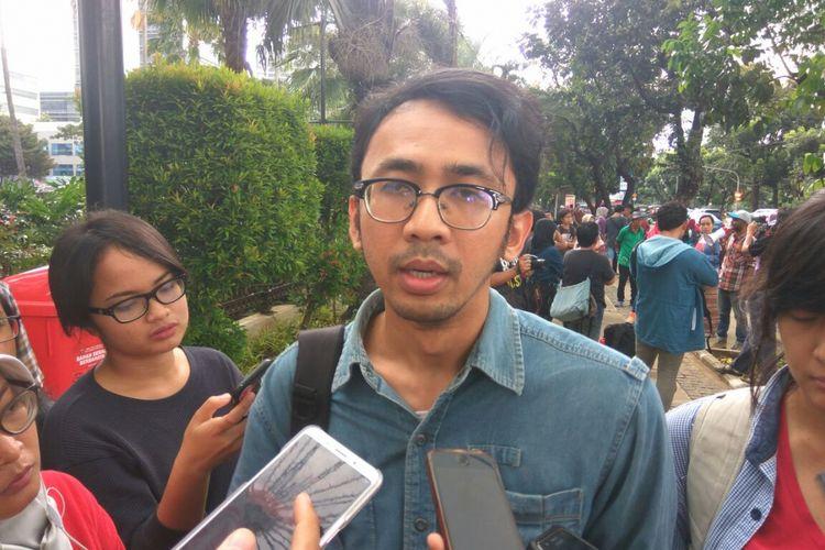 Arif Maulana dari LBH Jakarta di Balai Kota, Rabu (22/3/2018).
