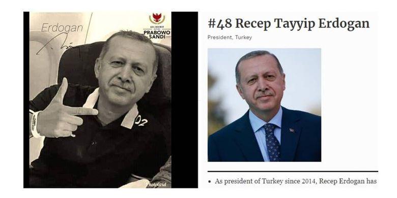 Foto editan Erdogan tengah berpose dua jari (kiri), dan juga foto Erdogan dalam salah satu artikel di majalah Forbes (kanan)