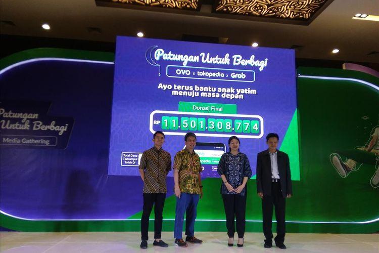 Grab, OVO, dan Tokopedia mengumumkan donasi yang terkumpul dalam sebulan untuk anak yatim, dhuafa, dan tidak mampu sebesar Rp 11,5 miliar di Sopo Del Tower Jakarta, Kamis (13/6/2019).