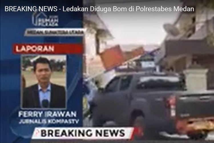 Suasana ledakan di duga bom bunuh diri di Polrestabes Medan
