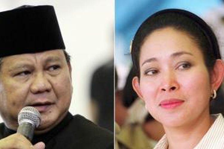 Prabowo Subianto (kiri) dan Siti Hediati Soeharto atau Titiek Soeharto