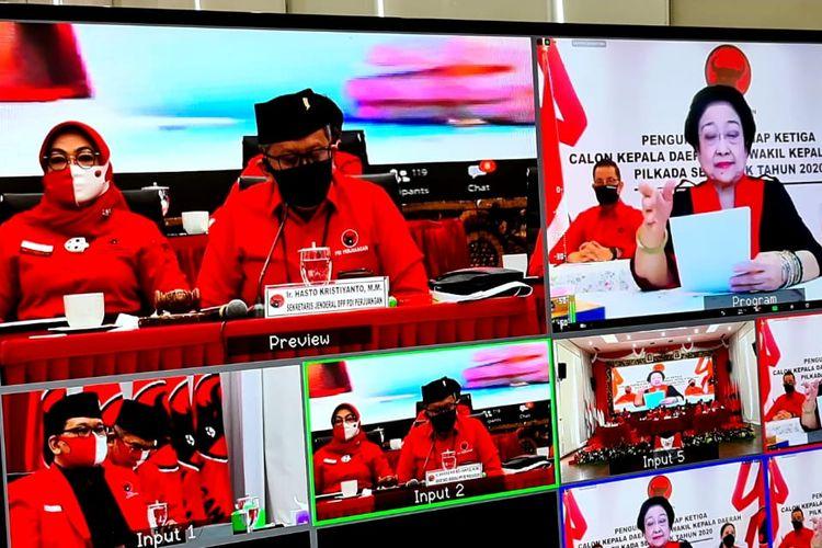 Ketua Umum PDI Perjuangan, Megawati Soekarnoputri, memberikan pengarahan kepada 75 pasangan calon kepala daerah, Selasa (11/8/2020).