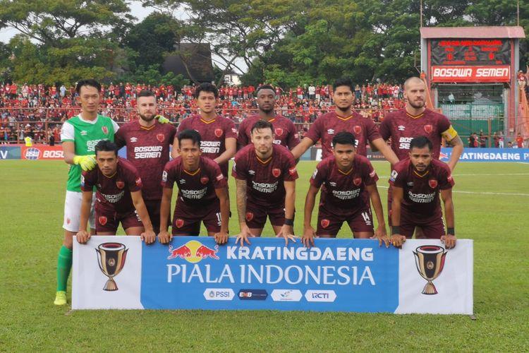 Skuad PSM Makassar jelang laga semifinal Piala Indonesia 2018 kontra Madura United di Stadion Andi Matallatta, Makassar, Minggu (30/6/2019).