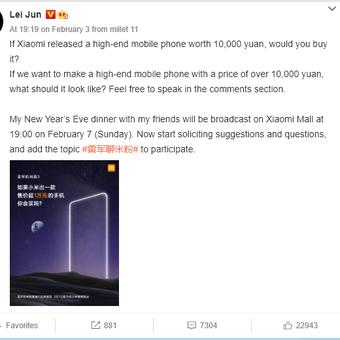 Tangkapan layar survei Xiaomi yang diunggah CEO Xiaomi, Lei Jun di situs Weibo.