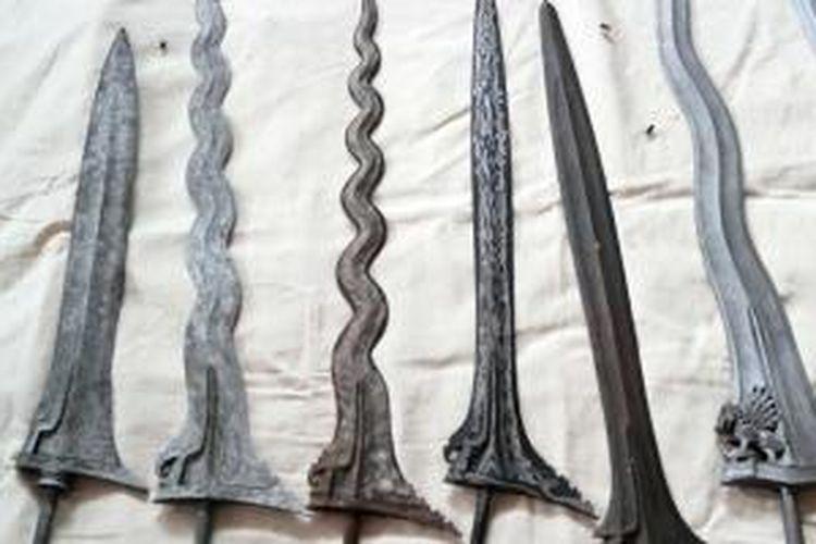 Keris yang dibuat di Desa Aeng Tongtong di Sumenep, Madura, Jawa Timur.