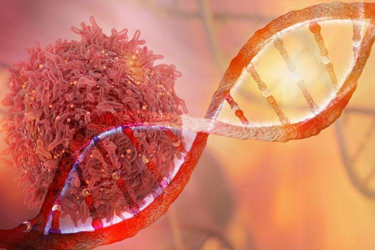 Ilustrasi sel dan gen DNA kanker.