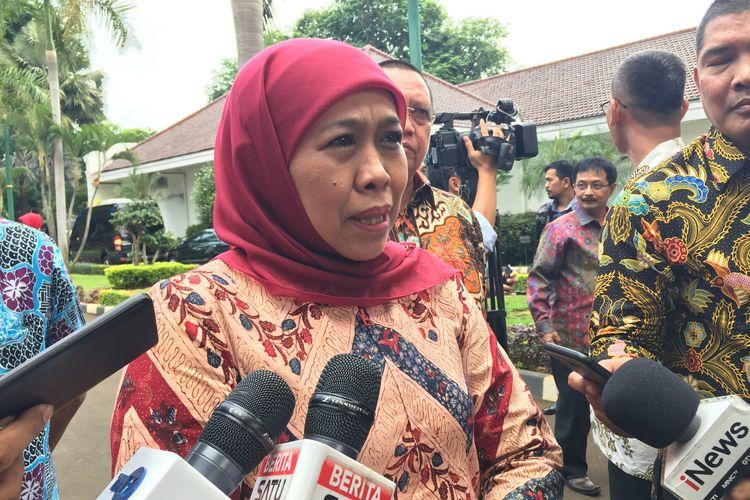 Gubernur Jawa Timur Khofifah Indar Parawansa di Istana Wapres