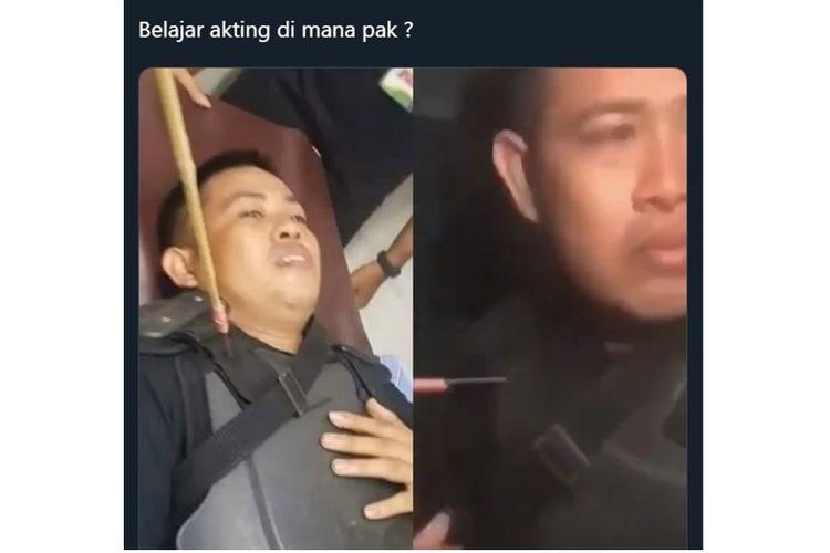Foto viral seorang polisi yang terkena panah di bahu kanan atas
