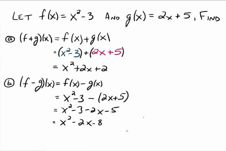 Contoh perhitungan operasi fungsi aljabar.